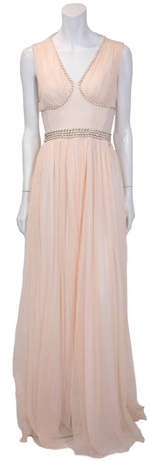 Maxi φόρεμα Elisabetta Franchi nude με αλυσίδες