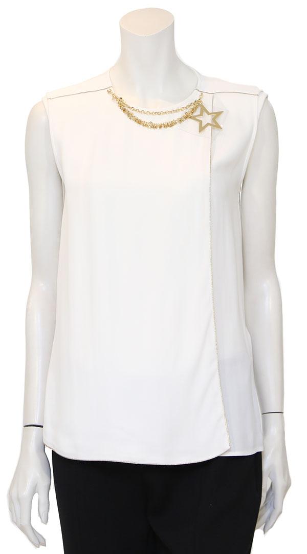 Λευκή Μπλούζα με αλυσίδα στο λαιμό